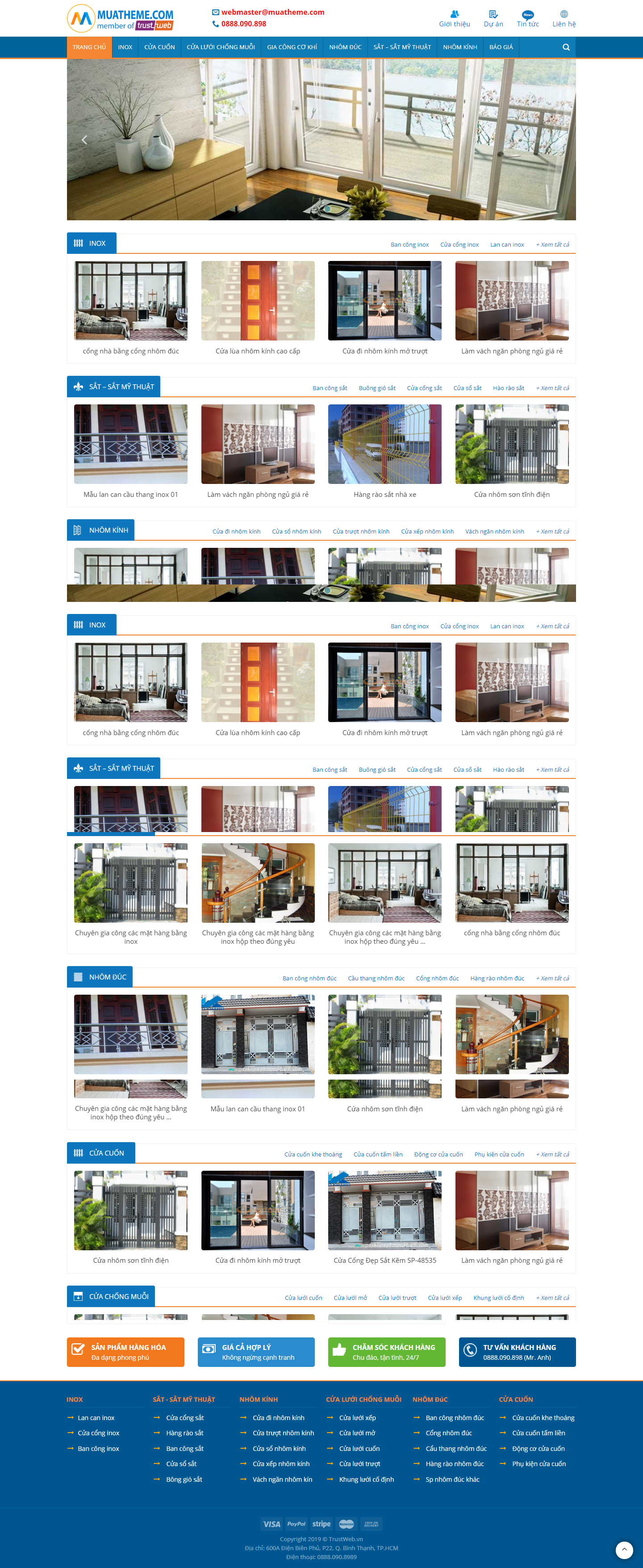 mẫu web cửa kính, cửa cuốn, nhôm kính