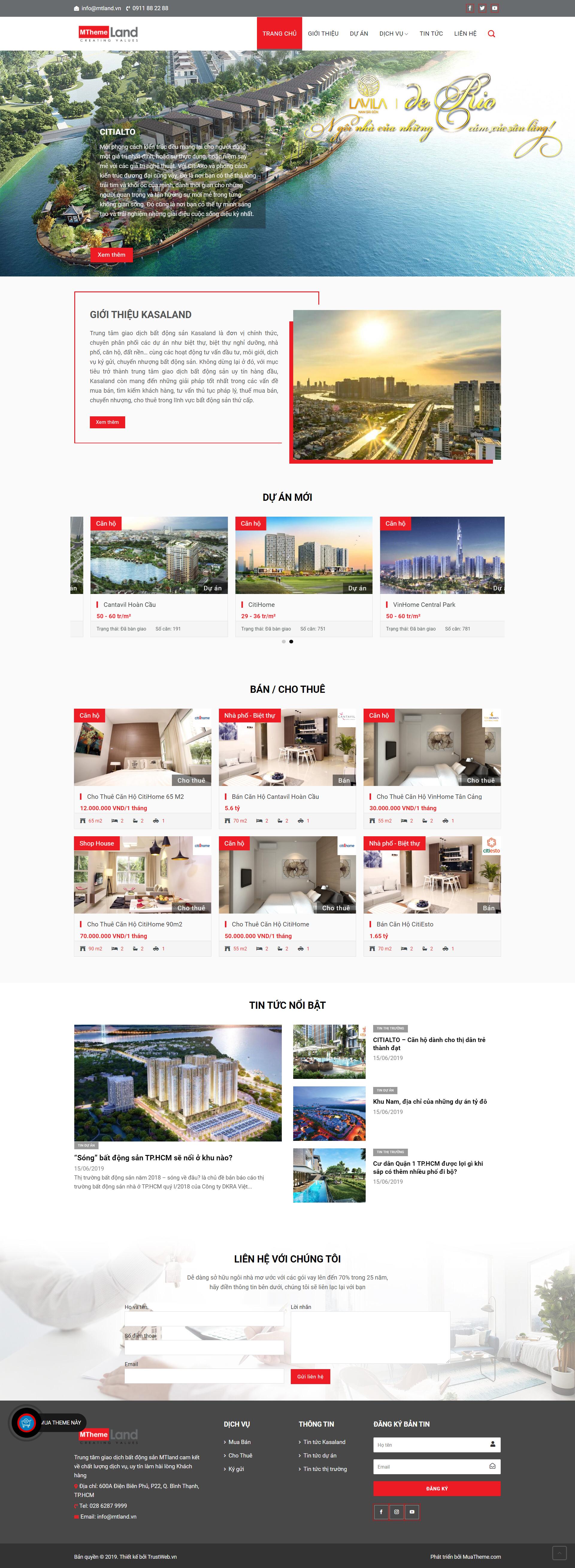 Theme WordPress sàn giao dịch bất động sản Kasaland