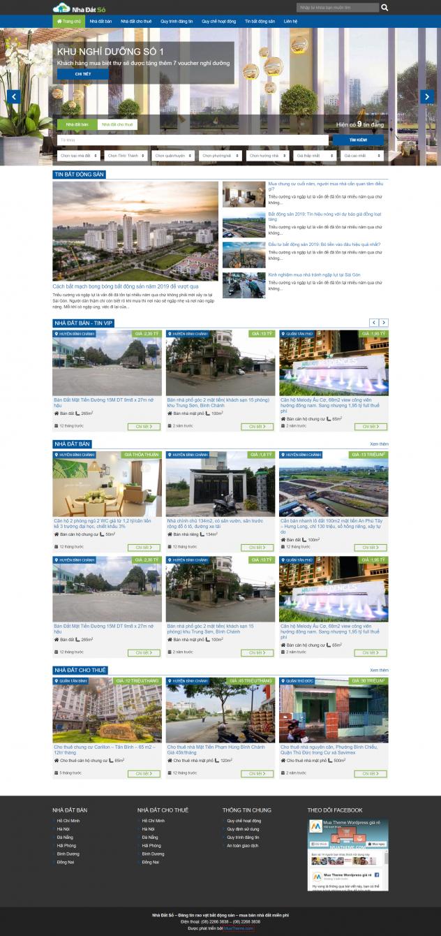 Theme WordPress bất động sản có tính năng đăng tin