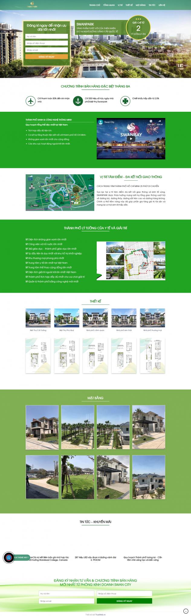 Theme WordPress dự án bất động sản Swan Park City