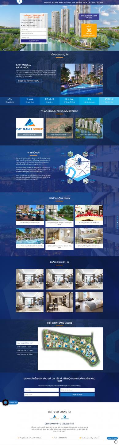 Mẫu website bất động sản gemriverside